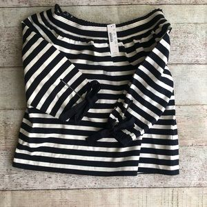 J crew off the shoulder top NAVY and white medium